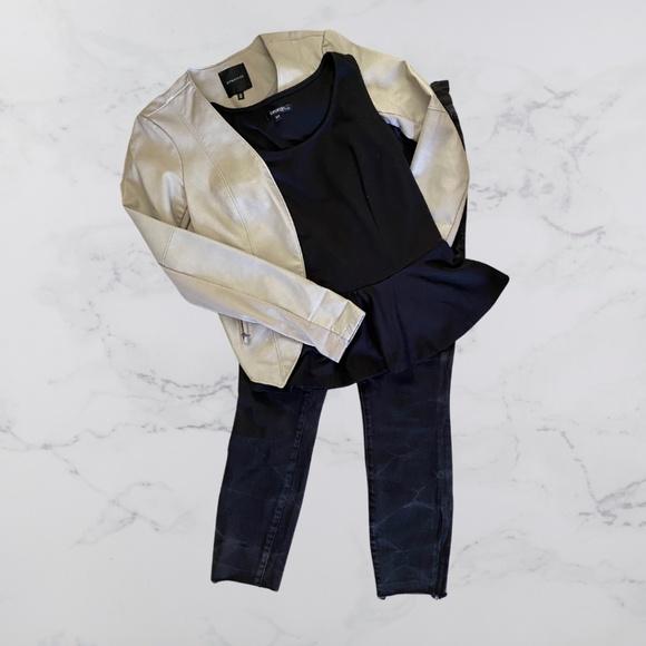 Bone Faux Leather Jacket